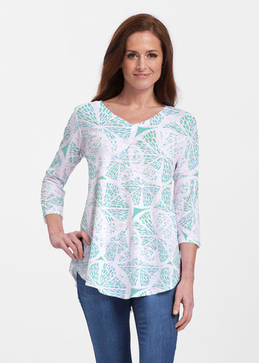 Aqua Citrus (7855) ~ Signature V-neck Flowy Tunic