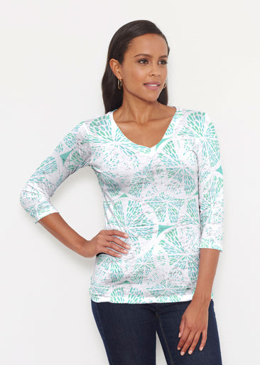 Aqua Citrus (7855) ~ Signature 3/4 V-Neck Shirt