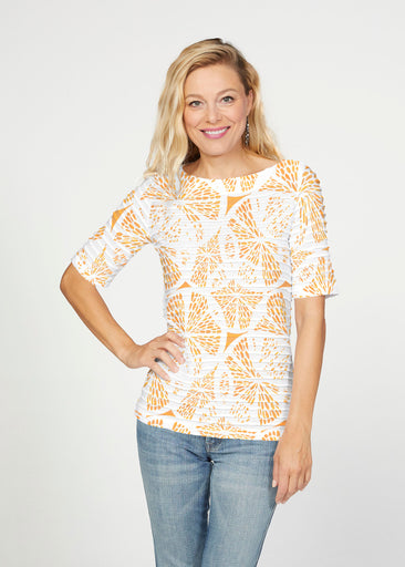 Orange Citrus (7862) ~ Banded Elbow Sleeve Boat Neck Top