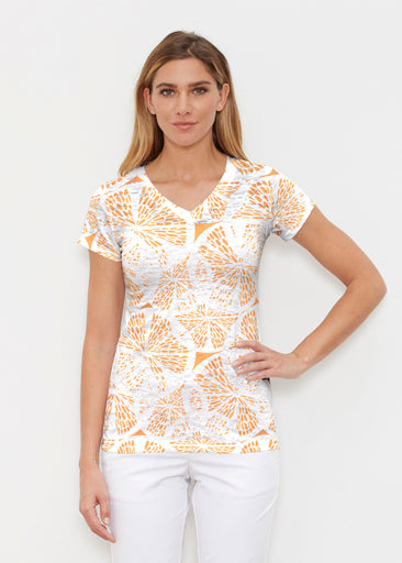 Orange Citrus (7862) ~ Signature Cap Sleeve V-Neck Shirt