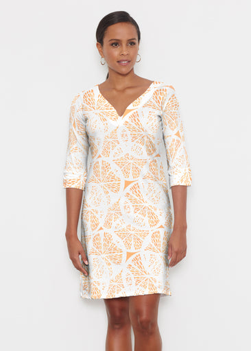 Orange Citrus (7862) ~ Classic 3/4 Sleeve Sweet Heart V-Neck Dress