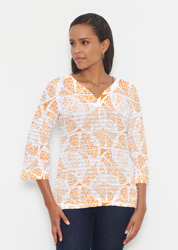 Orange Citrus (7862) ~ Banded 3/4 Bell-Sleeve V-Neck Tunic
