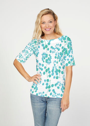 Teal Pome (7863) ~ Banded Elbow Sleeve Boat Neck Top