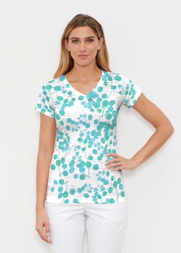 Teal Pome (7863) ~ Signature Cap Sleeve V-Neck Shirt