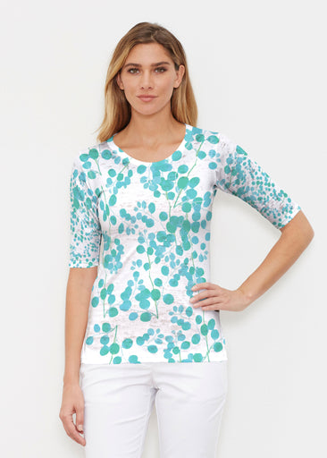 Teal Pome (7863) ~ Signature Elbow Sleeve Crew Shirt