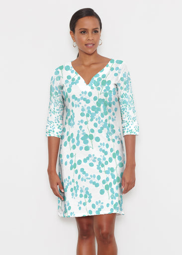 Teal Pome (7863) ~ Classic 3/4 Sleeve Sweet Heart V-Neck Dress