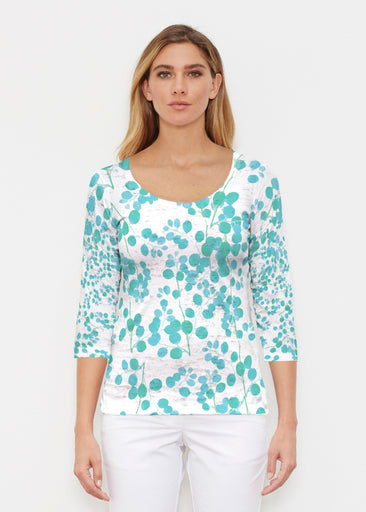 Teal Pome (7863) ~ Signature 3/4 Sleeve Scoop Shirt
