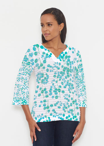 Teal Pome (7863) ~ Banded 3/4 Bell-Sleeve V-Neck Tunic