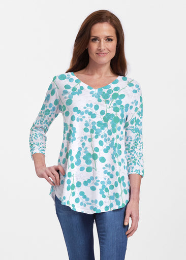 Teal Pome (7863) ~ Signature V-neck Flowy Tunic