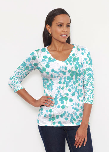 Teal Pome (7863) ~ Signature 3/4 V-Neck Shirt