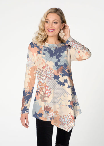 Oriental Floral (7868) ~ Asymmetrical French Terry Tunic