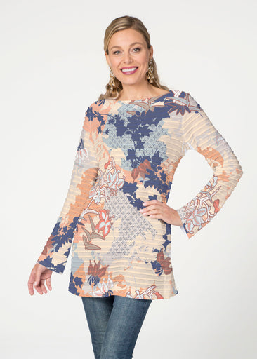 Oriental Floral (7868) ~ Banded Boatneck Tunic