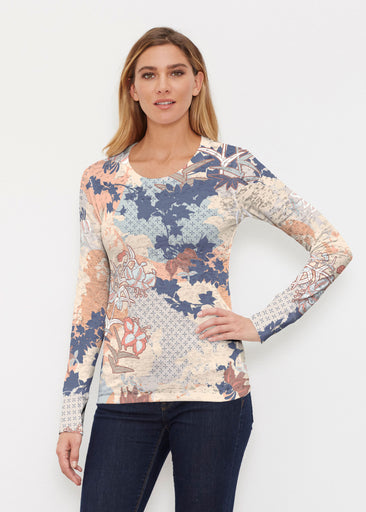 Oriental Floral (7868) ~ Thermal Long Sleeve Crew Shirt