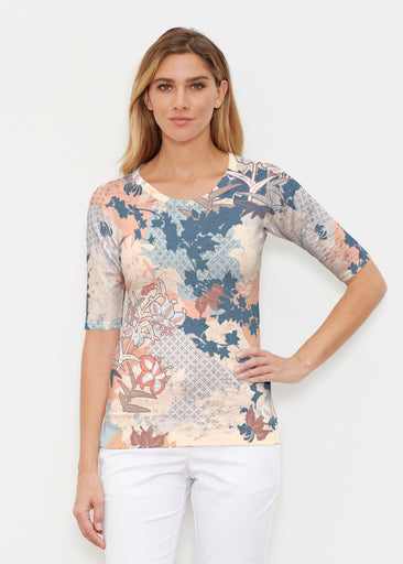 Oriental Floral (7868) ~ Elbow Sleeve Crew Shirt