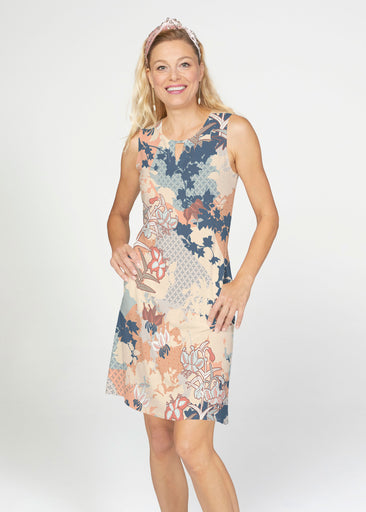 Oriental Floral (7868) ~ French Terry Keyhole Sleeveless Dress