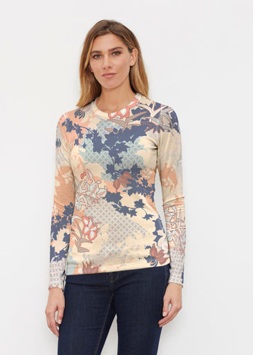 Oriental Floral (7868) ~ Butterknit Long Sleeve Crew Top