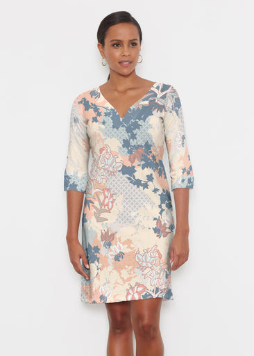 Oriental Floral (7868) ~ Classic 3/4 Sleeve Sweet Heart V-Neck Dress