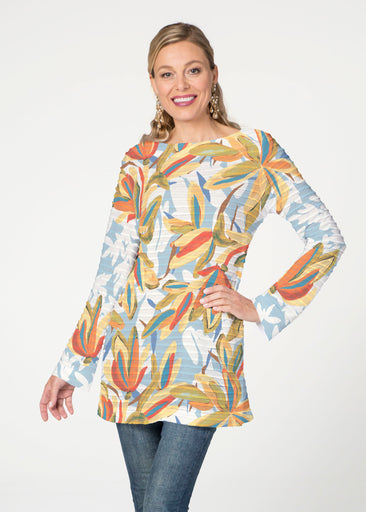 Colorful Palm (7874) ~ Banded Boatneck Tunic