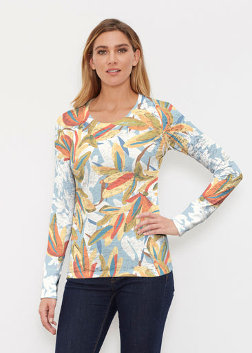 Colorful Palm (7874) ~ Thermal Long Sleeve Crew Shirt