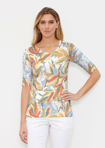 Colorful Palm (7874) ~ Elbow Sleeve Crew Shirt