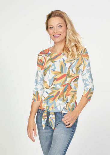 Colorful Palm (7874) ~ French Terry Tie 3/4 Sleeve Top