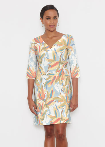 Colorful Palm (7874) ~ Classic 3/4 Sleeve Sweet Heart V-Neck Dress