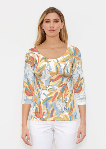 Colorful Palm (7874) ~ Signature 3/4 Sleeve Scoop Shirt