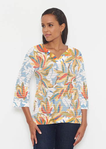 Colorful Palm (7874) ~ Banded 3/4 Bell-Sleeve V-Neck Tunic