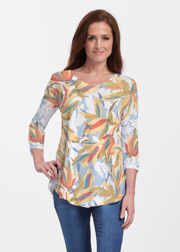 Colorful Palm (7874) ~ V-neck Flowy Tunic