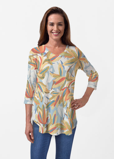 Colorful Palm (7874) ~ Butterknit V-neck Flowy Tunic