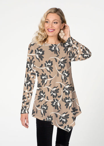 Polka Dot Floral (7875) ~ Asymmetrical French Terry Tunic
