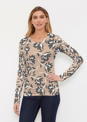 Polka Dot Floral (7875) ~ Thermal Long Sleeve Crew Shirt