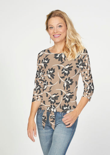 Polka Dot Floral (7875) ~ French Terry Tie 3/4 Sleeve Top