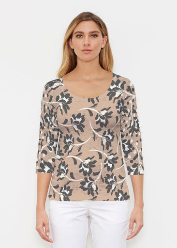 Polka Dot Floral (7875) ~ Signature 3/4 Sleeve Scoop Shirt