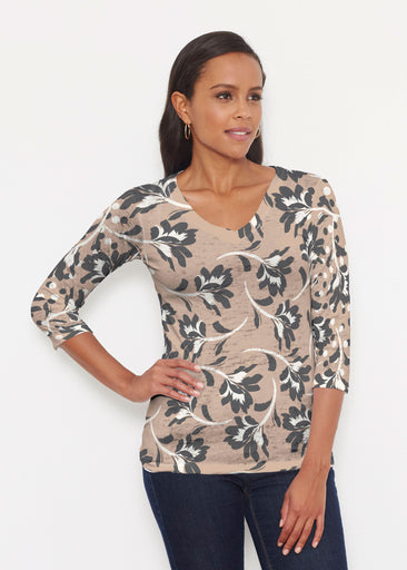 Polka Dot Floral (7875) ~ Signature 3/4 V-Neck Shirt