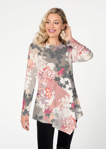 Oriental Floral Grey (7876) ~ Asymmetrical French Terry Tunic