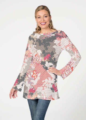 Oriental Floral Grey (7876) ~ Banded Boatneck Tunic
