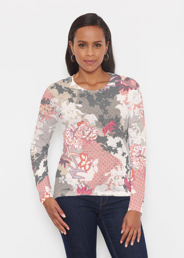 Oriental Floral Grey (7876) ~ Signature Long Sleeve Crew Shirt