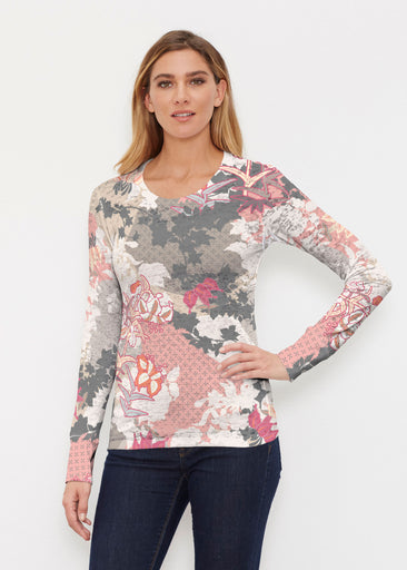 Oriental Floral Grey (7876) ~ Thermal Long Sleeve Crew Shirt