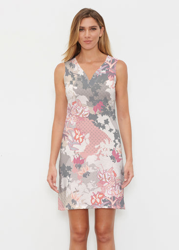 Oriental Floral Grey (7876) ~ Classic Sleeveless Dress