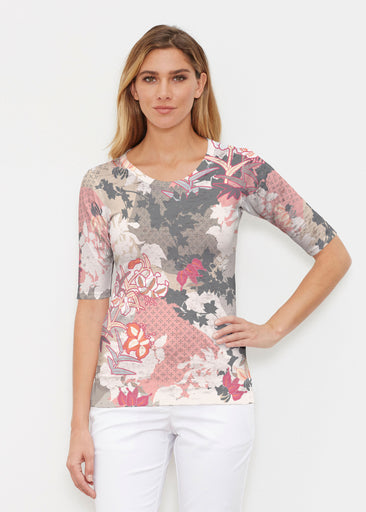 Oriental Floral Grey (7876) ~ Elbow Sleeve Crew Shirt