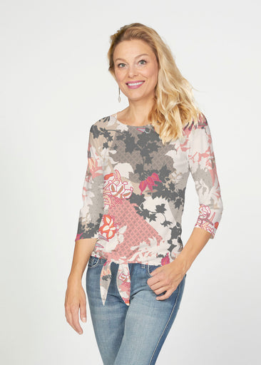 Oriental Floral Grey (7876) ~ French Terry Tie 3/4 Sleeve Top