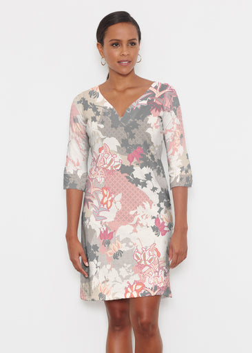Oriental Floral Grey (7876) ~ Classic 3/4 Sleeve Sweet Heart V-Neck Dress