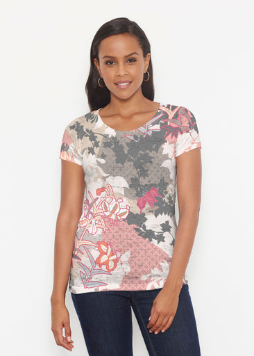 Oriental Floral Grey (7876) ~ Short Sleeve Scoop Shirt