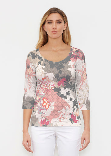 Oriental Floral Grey (7876) ~ Signature 3/4 Sleeve Scoop Shirt