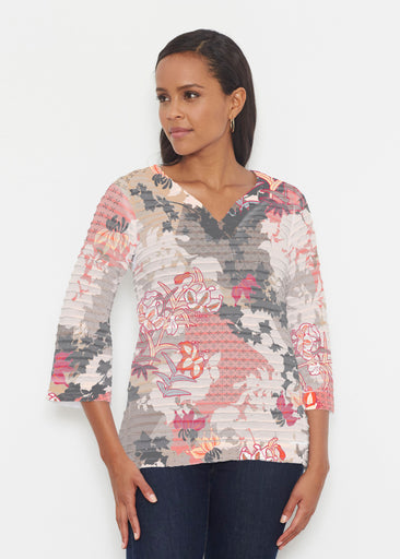Oriental Floral Grey (7876) ~ Banded 3/4 Bell-Sleeve V-Neck Tunic
