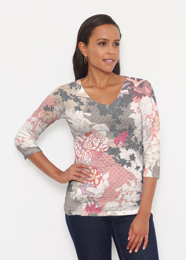Oriental Floral Grey (7876) ~ Signature 3/4 V-Neck Shirt