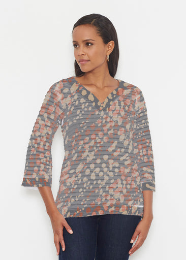 Edgy Splash (7877) ~ Banded 3/4 Bell-Sleeve V-Neck Tunic