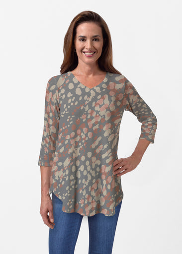 Edgy Splash (7877) ~ Butterknit V-neck Flowy Tunic