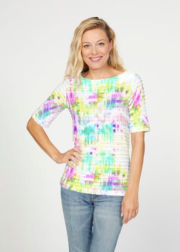 Summer Tie Dye (7878) ~ Banded Elbow Sleeve Boat Neck Top